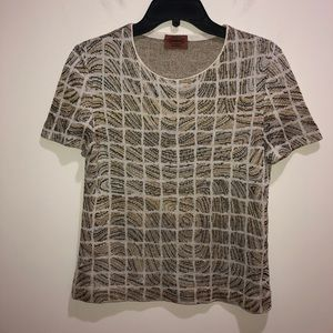 MISSONI Size Small Short Sleeve Gold, Silver Top
